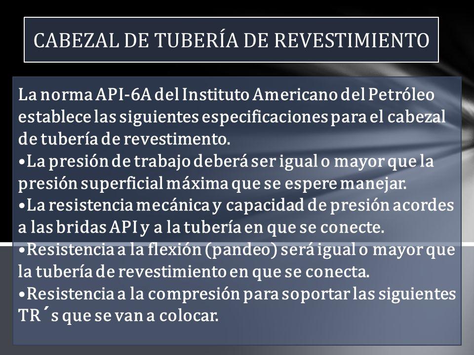 CABEZAL DE TUBERÍA DE REVESTIMIENTO La norma API-6A del Instituto Americano del Petróleo establece las siguientes especificaciones para el cabezal de