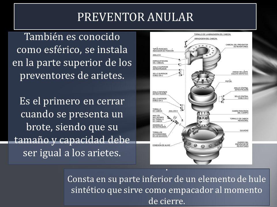 PREVENTOR ANULAR También es conocido como esférico, se instala en la parte superior de los preventores de arietes. Es el primero en cerrar cuando se p