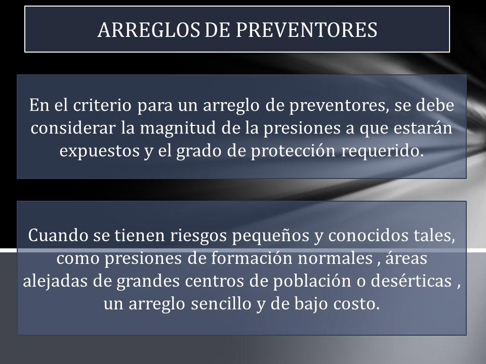 ARREGLOS DE PREVENTORES En el criterio para un arreglo de preventores, se debe considerar la magnitud de la presiones a que estarán expuestos y el gra