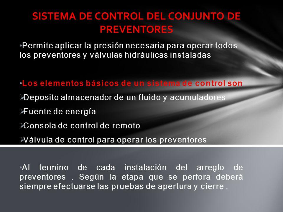 Permite aplicar la presión necesaria para operar todos los preventores y válvulas hidráulicas instaladas Los elementos básicos de un sistema de contro