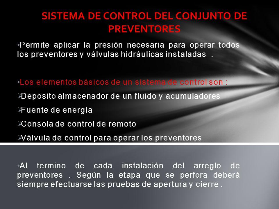 SISTEMA DE CONTROL DEL CONJUNTO DE PREVENTORES Permite aplicar la presión necesaria para operar todos los preventores y válvulas hidráulicas instalada