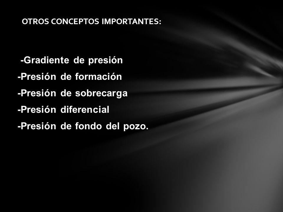 -Gradiente de presión -Presión de formación -Presión de sobrecarga -Presión diferencial -Presión de fondo del pozo. OTROS CONCEPTOS IMPORTANTES:
