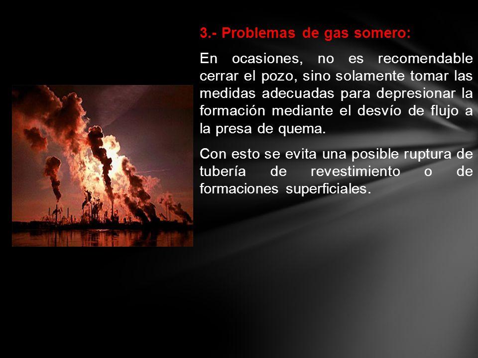 3.- Problemas de gas somero: En ocasiones, no es recomendable cerrar el pozo, sino solamente tomar las medidas adecuadas para depresionar la formación