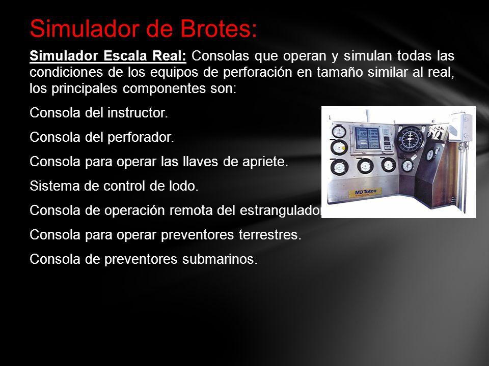 Simulador de Brotes: Simulador Escala Real: Simulador Escala Real: Consolas que operan y simulan todas las condiciones de los equipos de perforación e