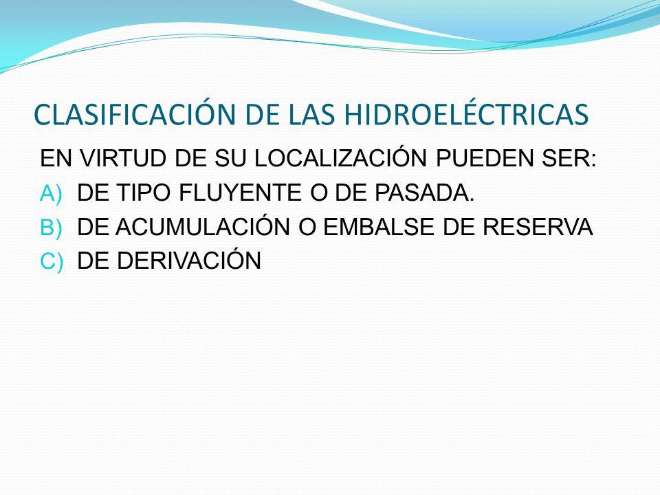 CLASIFICACIÓN DE LAS HIDROELÉCTRICAS EN VIRTUD DE SU LOCALIZACIÓN PUEDEN SER: A) DE TIPO FLUYENTE O DE PASADA. B) DE ACUMULACIÓN O EMBALSE DE RESERVA
