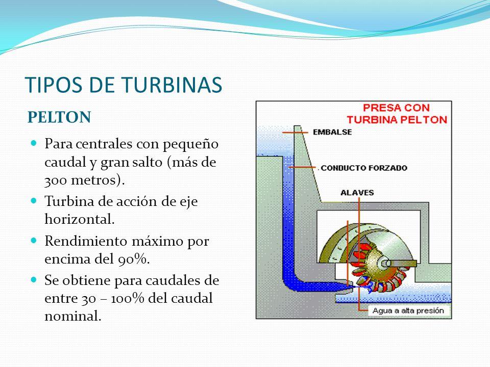 TIPOS DE TURBINAS PELTON Para centrales con pequeño caudal y gran salto (más de 300 metros). Turbina de acción de eje horizontal. Rendimiento máximo p