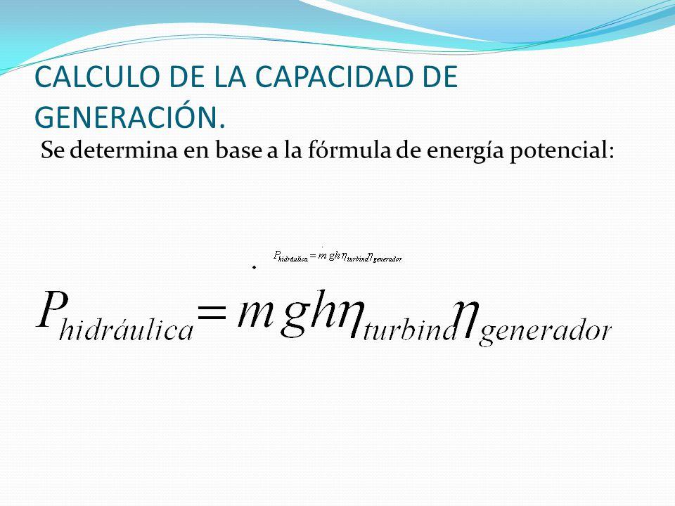 CALCULO DE LA CAPACIDAD DE GENERACIÓN. Se determina en base a la fórmula de energía potencial: