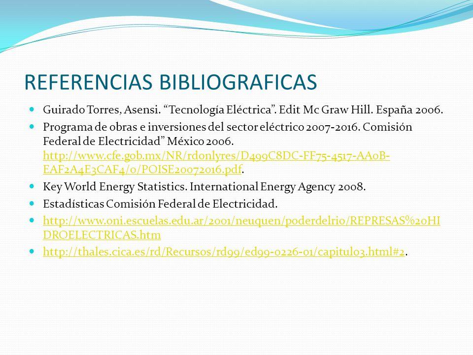 REFERENCIAS BIBLIOGRAFICAS Guirado Torres, Asensi. Tecnología Eléctrica. Edit Mc Graw Hill. España 2006. Programa de obras e inversiones del sector el