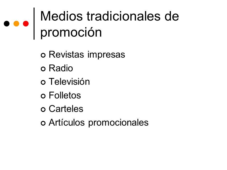 Medios tradicionales de promoción Revistas impresas Radio Televisión Folletos Carteles Artículos promocionales