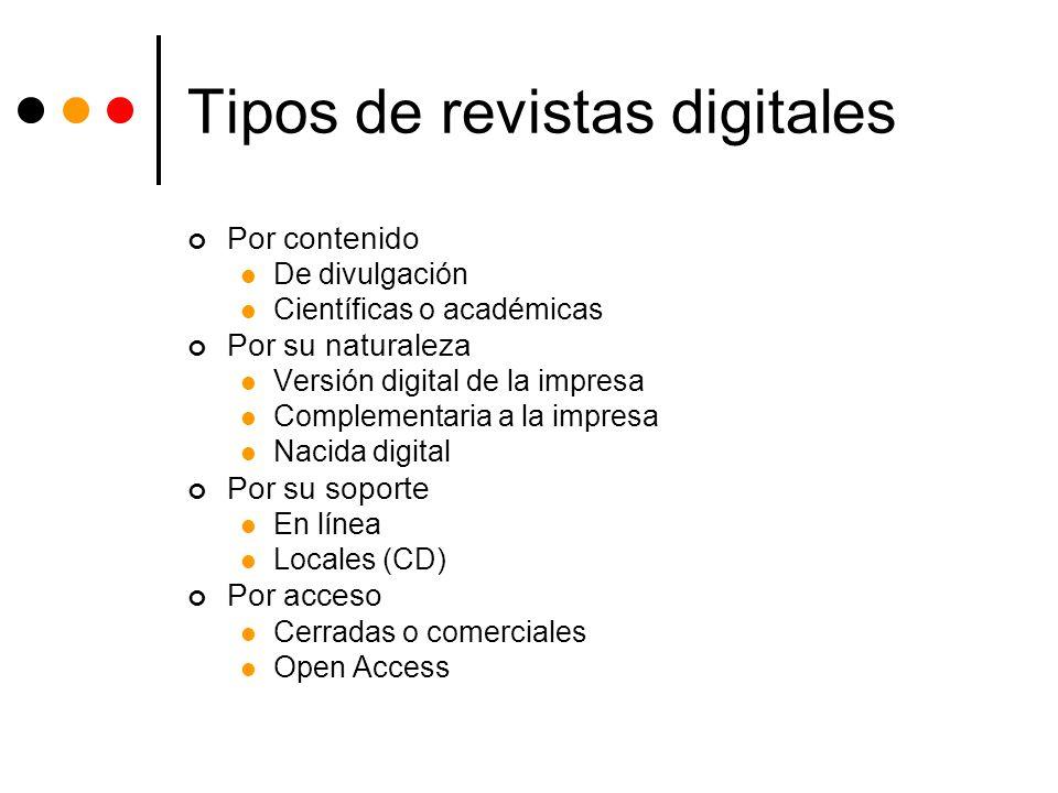 Tipos de revistas digitales Por contenido De divulgación Científicas o académicas Por su naturaleza Versión digital de la impresa Complementaria a la