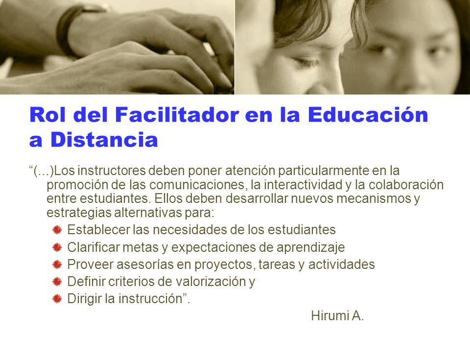 Rol del Facilitador en la Educación a Distancia (...)Los instructores deben poner atención particularmente en la promoción de las comunicaciones, la i