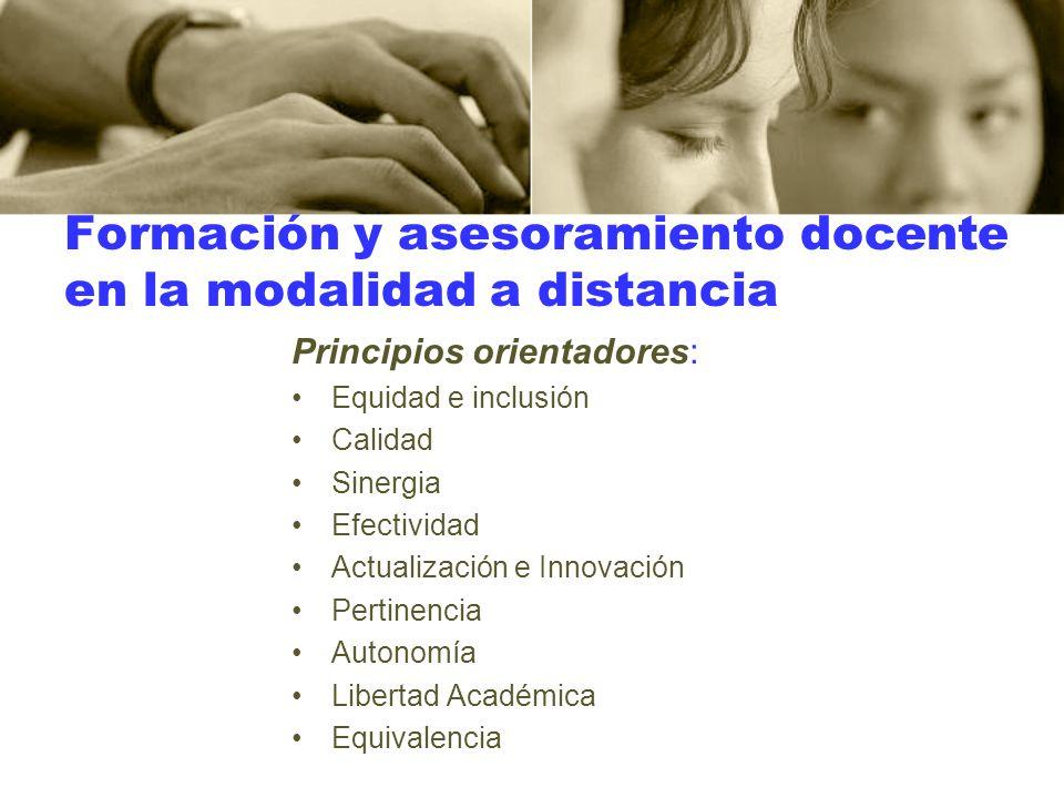 Formación y asesoramiento docente en la modalidad a distancia Principios orientadores: Equidad e inclusión Calidad Sinergia Efectividad Actualización