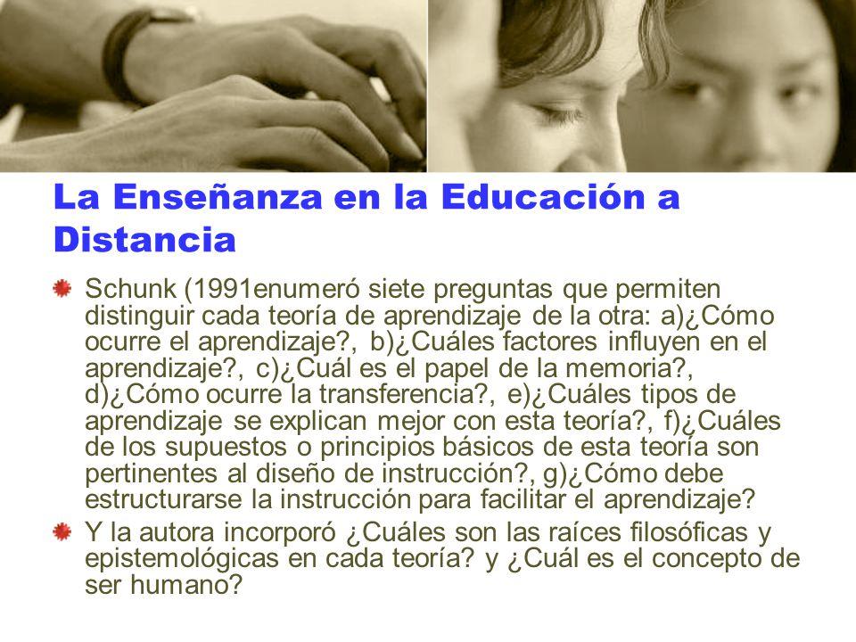 La Enseñanza en la Educación a Distancia Schunk (1991enumeró siete preguntas que permiten distinguir cada teoría de aprendizaje de la otra: a)¿Cómo oc
