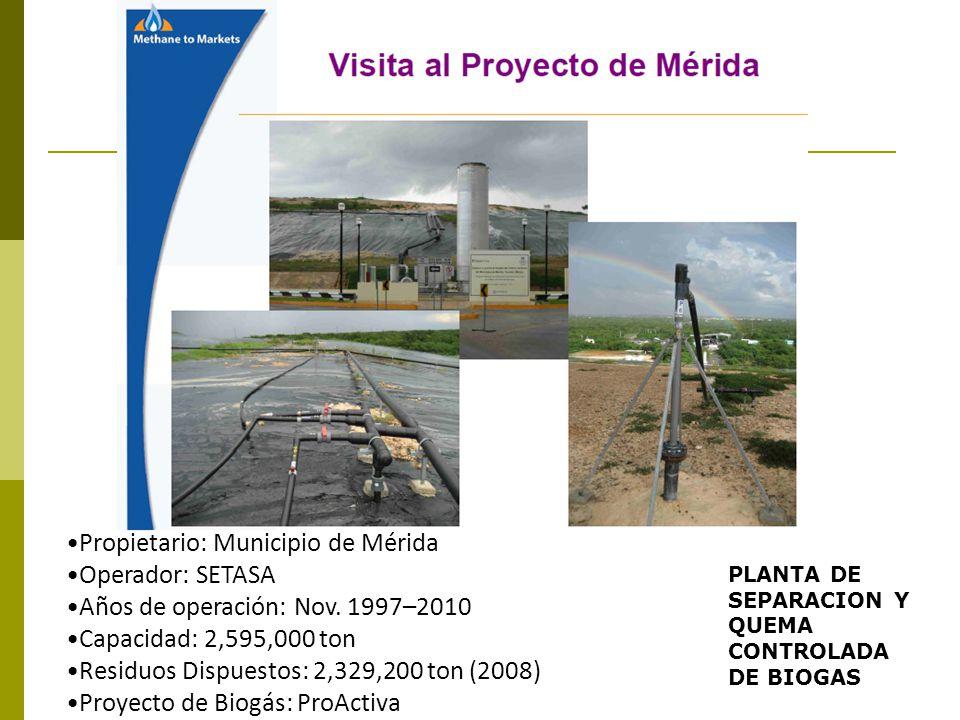 Propietario: Municipio de Mérida Operador: SETASA Años de operación: Nov. 1997–2010 Capacidad: 2,595,000 ton Residuos Dispuestos: 2,329,200 ton (2008)