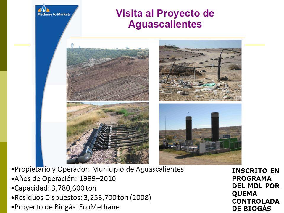 Propietario y Operador: Municipio de Aguascalientes Años de Operación: 1999–2010 Capacidad: 3,780,600 ton Residuos Dispuestos: 3,253,700 ton (2008) Pr