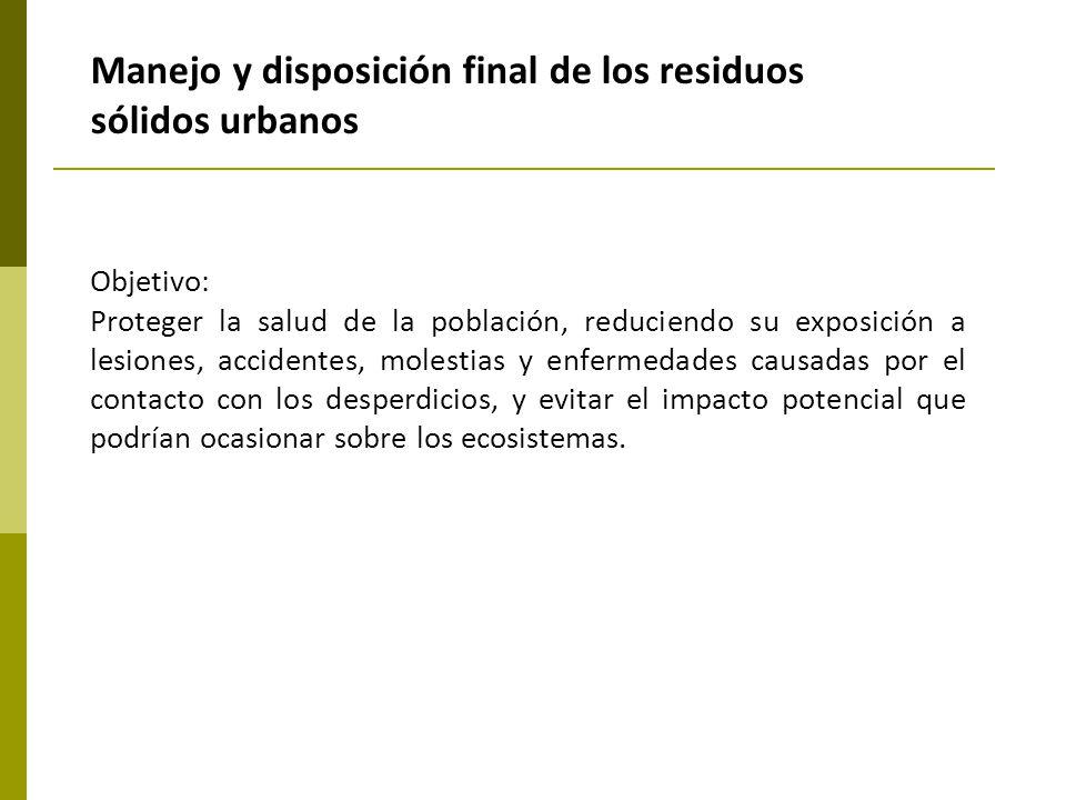 Manejo y disposición final de los residuos sólidos urbanos Objetivo: Proteger la salud de la población, reduciendo su exposición a lesiones, accidente