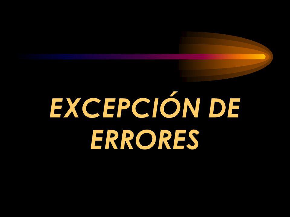 Procedure sub is valorprohibido: exception; --otras declaraciones de sub Begin --enunciados para procesamiento de sub Exception when valorprohibido => --manejador explícito when Constraint_Error => --manejador implícito when others => --manejador para resto excepciones End; --EJEMPLO DE ADA