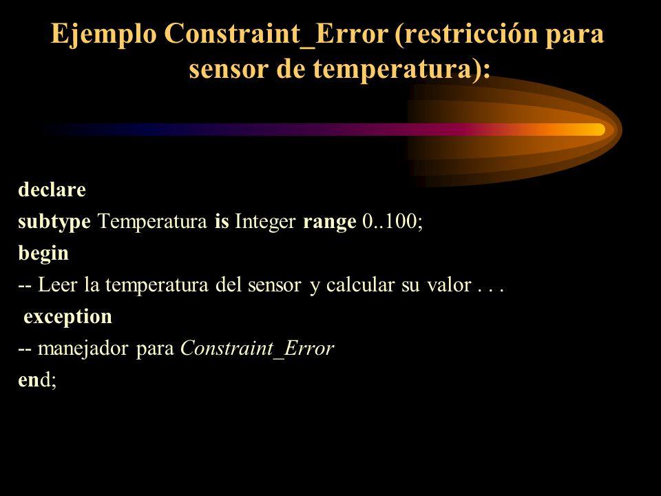 Ejemplo Constraint_Error (restricción para sensor de temperatura): declare subtype Temperatura is Integer range 0..100; begin -- Leer la temperatura d