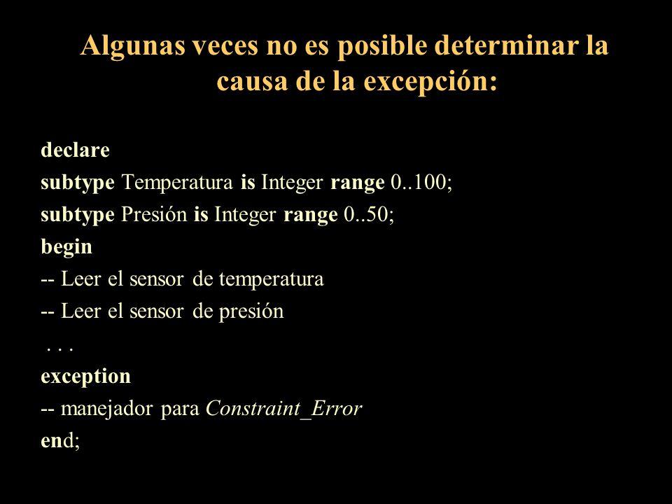 Algunas veces no es posible determinar la causa de la excepción: declare subtype Temperatura is Integer range 0..100; subtype Presión is Integer range
