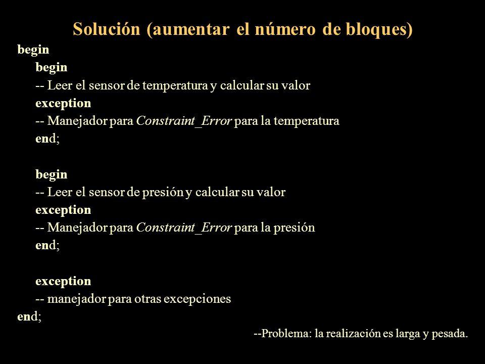 Solución (aumentar el número de bloques) begin -- Leer el sensor de temperatura y calcular su valor exception -- Manejador para Constraint_Error para