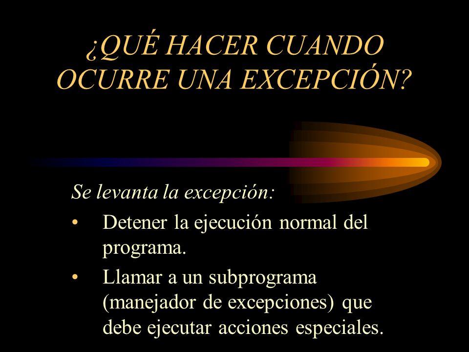 Conceptos fundamentales MENEJADOR DE EXCEPCIONES Subprograma encargado de llevar acabo un conjunto de instrucciones que se ejecutan después de una excepción.