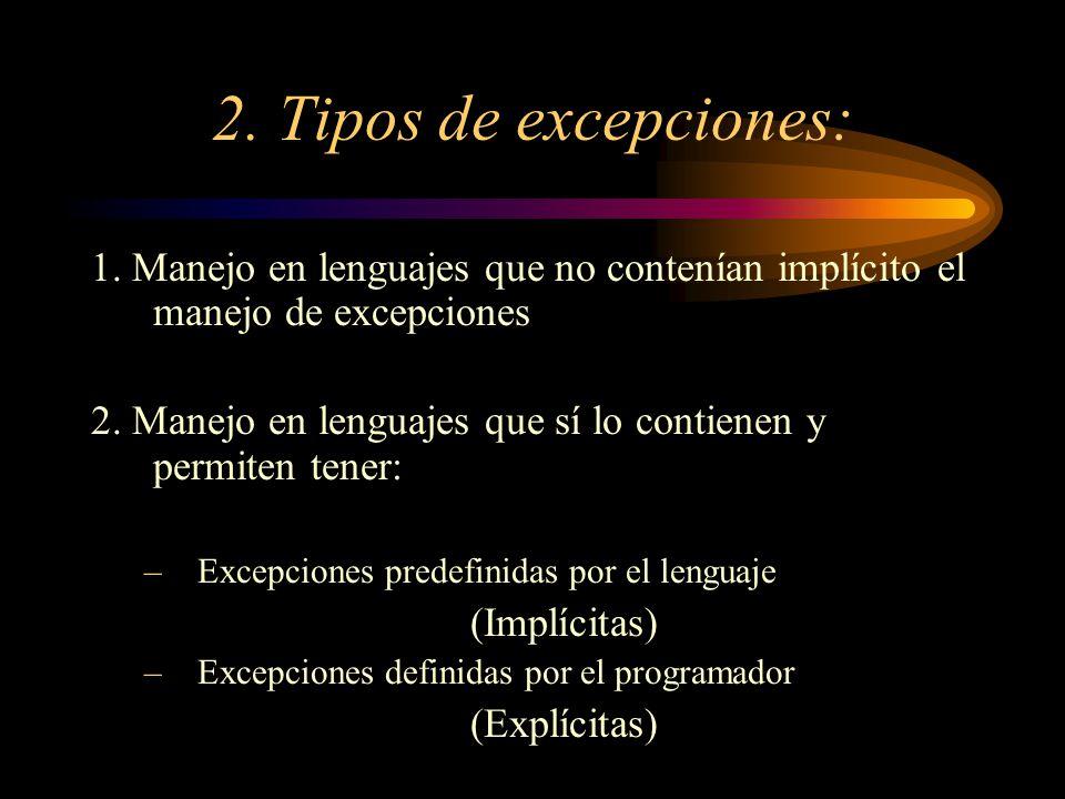 2. Tipos de excepciones: 1. Manejo en lenguajes que no contenían implícito el manejo de excepciones 2. Manejo en lenguajes que sí lo contienen y permi