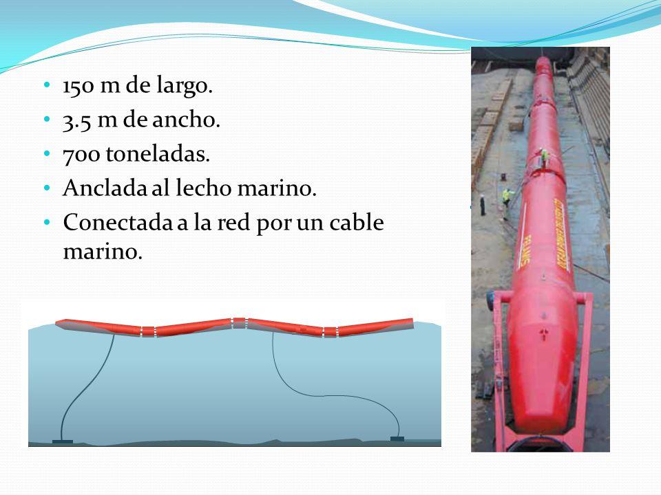 150 m de largo. 3.5 m de ancho. 700 toneladas. Anclada al lecho marino. Conectada a la red por un cable marino.