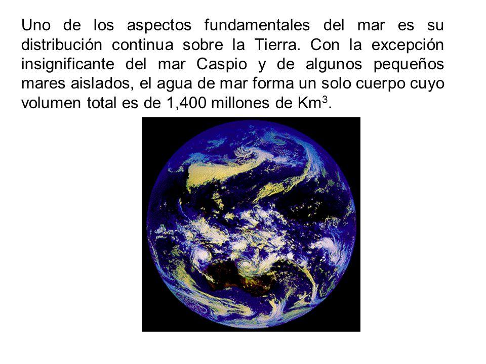 Uno de los aspectos fundamentales del mar es su distribución continua sobre la Tierra. Con la excepción insignificante del mar Caspio y de algunos peq