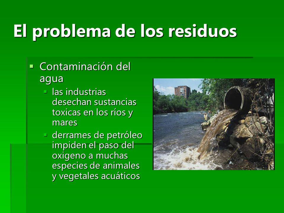 El problema de los residuos Contaminación del agua Contaminación del agua las industrias desechan sustancias toxicas en los ríos y mares las industria