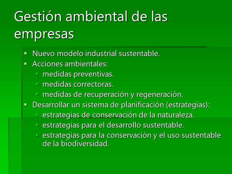 Gestión ambiental de las empresas Nuevo modelo industrial sustentable. Nuevo modelo industrial sustentable. Acciones ambientales: Acciones ambientales