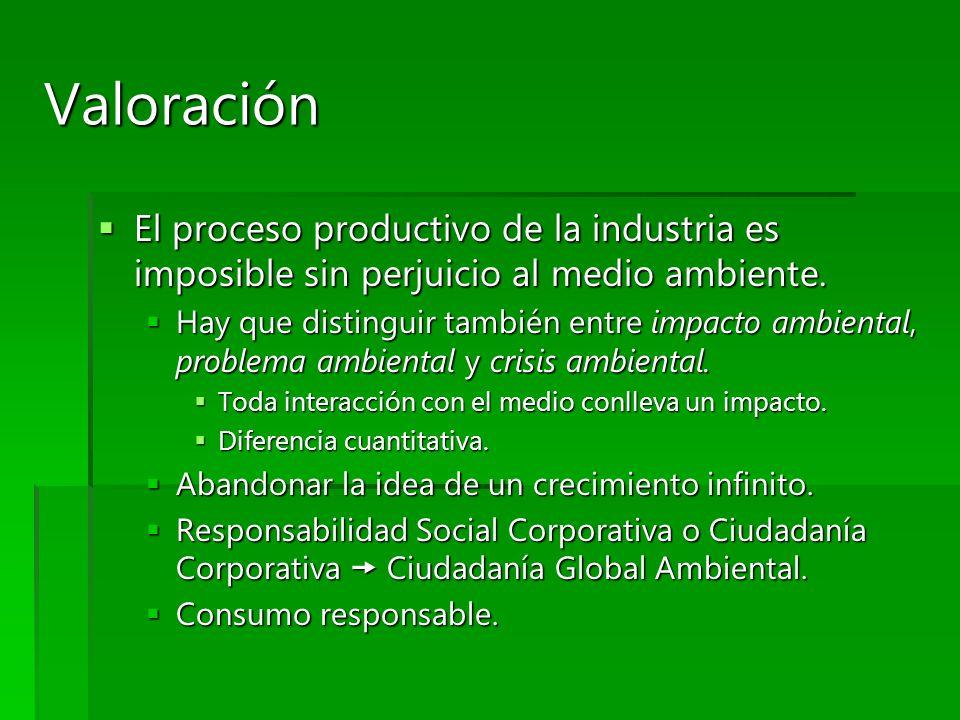 Valoración El proceso productivo de la industria es imposible sin perjuicio al medio ambiente. El proceso productivo de la industria es imposible sin