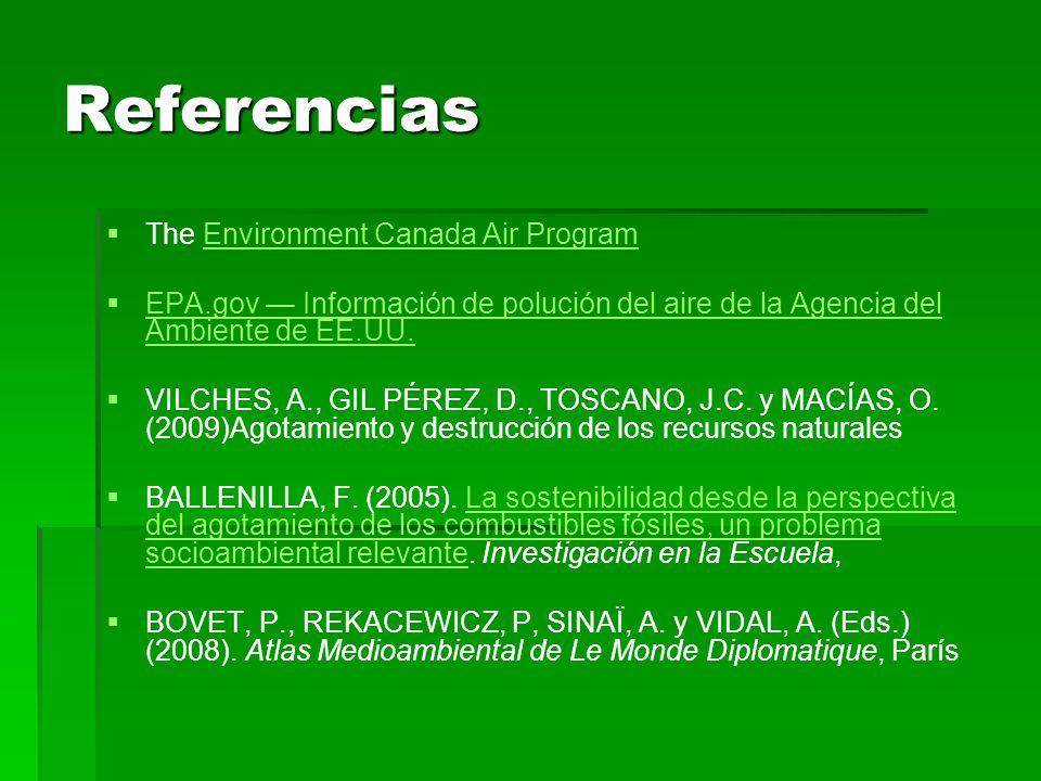 Referencias The Environment Canada Air ProgramEnvironment Canada Air Program EPA.gov Información de polución del aire de la Agencia del Ambiente de EE