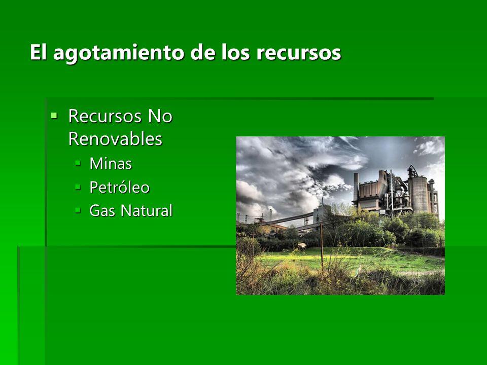 El agotamiento de los recursos Recursos No Renovables Recursos No Renovables Minas Minas Petróleo Petróleo Gas Natural Gas Natural