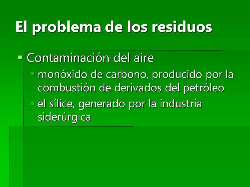 El problema de los residuos Contaminación del aire Contaminación del aire monóxido de carbono, producido por la combustión de derivados del petróleo m