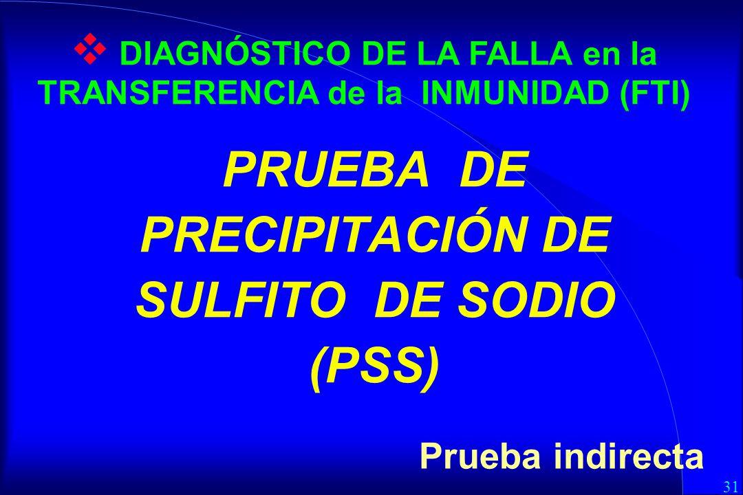31 PRUEBA DE PRECIPITACIÓN DE SULFITO DE SODIO (PSS) Prueba indirecta DIAGNÓSTICO DE LA FALLA en la TRANSFERENCIA de la INMUNIDAD (FTI)