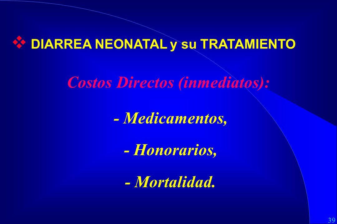 39 Costos Directos (inmediatos): - Medicamentos, - Honorarios, - Mortalidad.