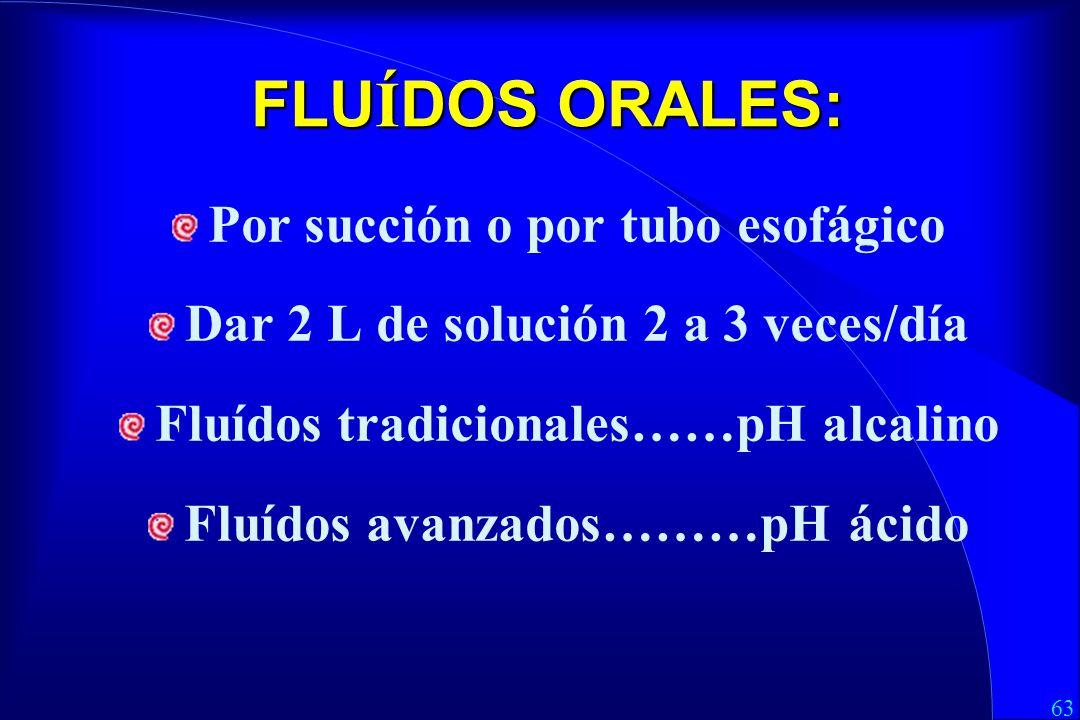 63 FLU Í DOS ORALES: Por succión o por tubo esofágico Dar 2 L de solución 2 a 3 veces/día Fluídos tradicionales……pH alcalino Fluídos avanzados………pH ácido