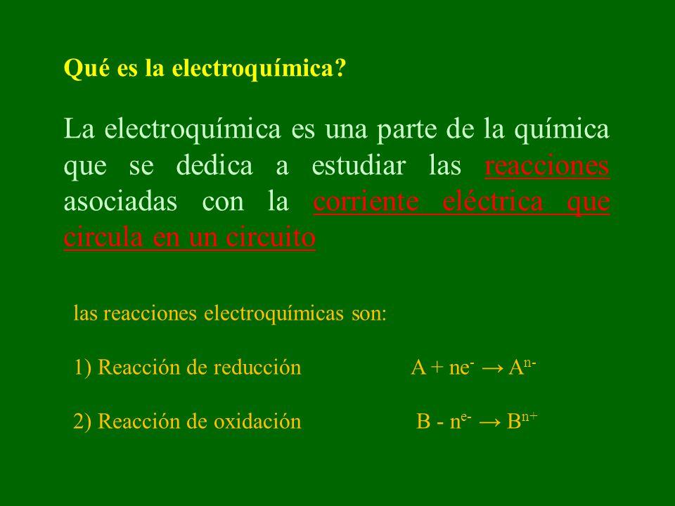 Qué es la electroquímica? La electroquímica es una parte de la química que se dedica a estudiar las reacciones asociadas con la corriente eléctrica qu