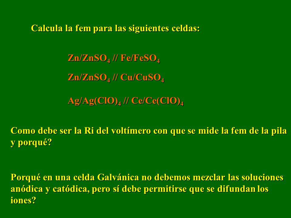 Calcula la fem para las siguientes celdas: Zn/ZnSO 4 // Fe/FeSO 4 Zn/ZnSO 4 // Cu/CuSO 4 Ag/Ag(ClO) 4 // Ce/Ce(ClO) 4 Como debe ser la Ri del voltímero con que se mide la fem de la pila y porqué.