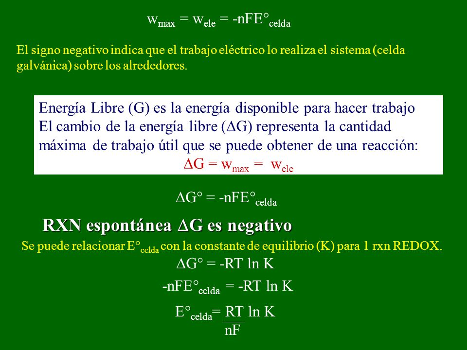 El signo negativo indica que el trabajo eléctrico lo realiza el sistema (celda galvánica) sobre los alrededores. Energía Libre (G) es la energía dispo