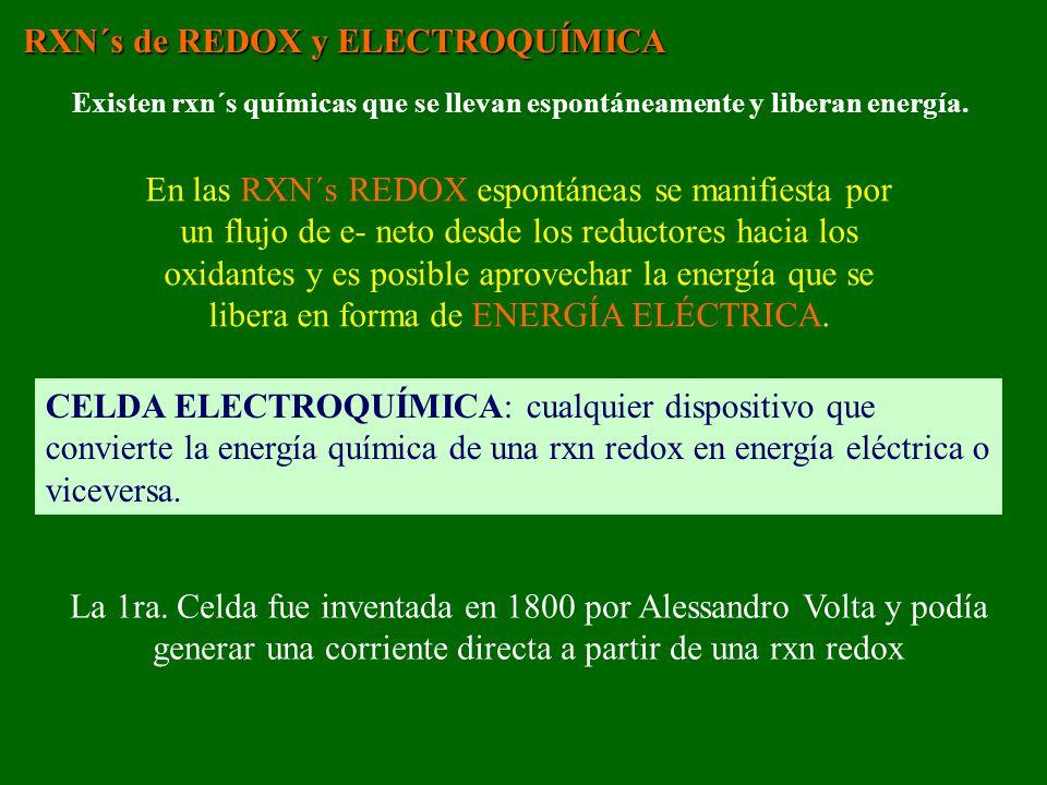 RXN´s de REDOX y ELECTROQUÍMICA Existen rxn´s químicas que se llevan espontáneamente y liberan energía. En las RXN´s REDOX espontáneas se manifiesta p