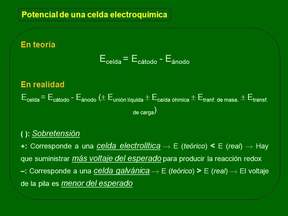En teoría E celda = E cátodo - E ánodo En realidad E celda = E cátodo - E ánodo ( E unión líquida E caída óhmica E tranf. de masa. E transf. de carga