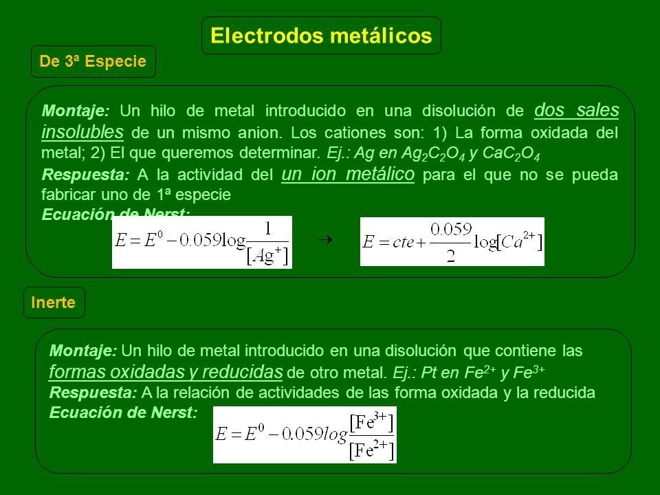 Montaje: Un hilo de metal introducido en una disolución que contiene las formas oxidadas y reducidas de otro metal. Ej.: Pt en Fe 2+ y Fe 3+ Respuesta