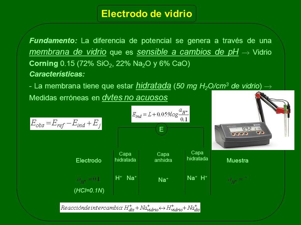Fundamento: La diferencia de potencial se genera a través de una membrana de vidrio que es sensible a cambios de pH Vidrio Corning 0.15 (72% SiO 2, 22% Na 2 O y 6% CaO) Características: - La membrana tiene que estar hidratada (50 mg H 2 O/cm 3 de vidrio) Medidas erróneas en dvtes no acuosos Electrodo de vidrio ElectrodoMuestra E Capa hidratada Capa hidratada Capa anhidra Na + H + Na + Na + H + (HCl=0.1N)