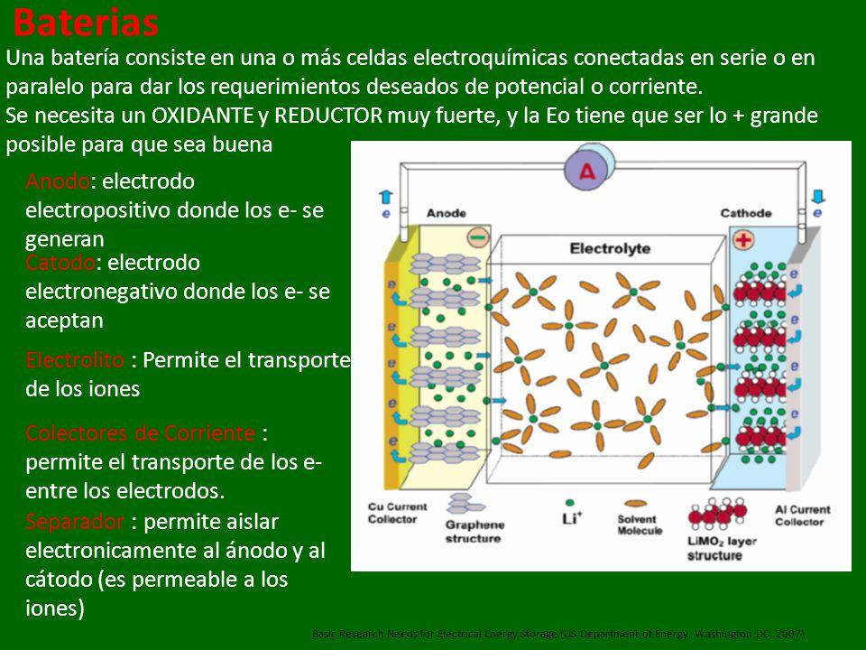 Baterias Una batería consiste en una o más celdas electroquímicas conectadas en serie o en paralelo para dar los requerimientos deseados de potencial