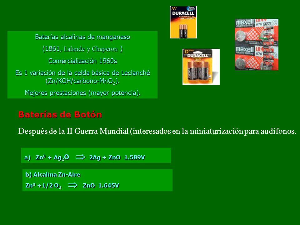 Baterías alcalinas de manganeso (1861, Lalande y Chaperon ) Comercialización 1960s Es 1 variación de la celda básica de Leclanché (Zn/KOH/carbono-MnO