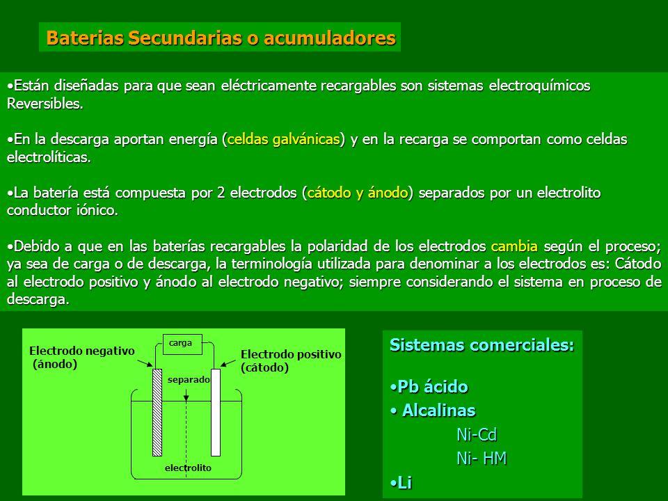 Baterias Secundarias o acumuladores Están diseñadas para que sean eléctricamente recargables son sistemas electroquímicosEstán diseñadas para que sean eléctricamente recargables son sistemas electroquímicosReversibles.