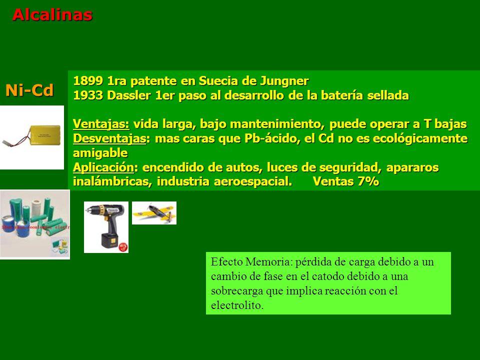 Alcalinas Ni-Cd 1899 1ra patente en Suecia de Jungner 1933 Dassler 1er paso al desarrollo de la batería sellada Ventajas: vida larga, bajo mantenimiento, puede operar a T bajas Desventajas: mas caras que Pb-ácido, el Cd no es ecológicamente amigable Aplicación: encendido de autos, luces de seguridad, apararos inalámbricas, industria aeroespacial.