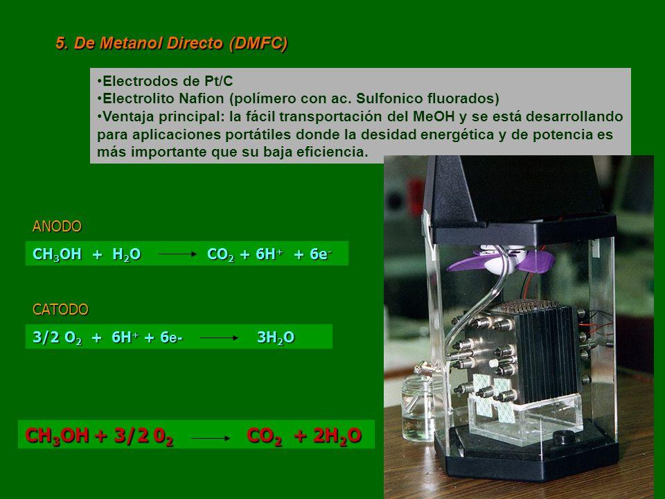 5. De Metanol Directo (DMFC) Electrodos de Pt/C Electrolito Nafion (polímero con ac. Sulfonico fluorados) Ventaja principal: la fácil transportación d