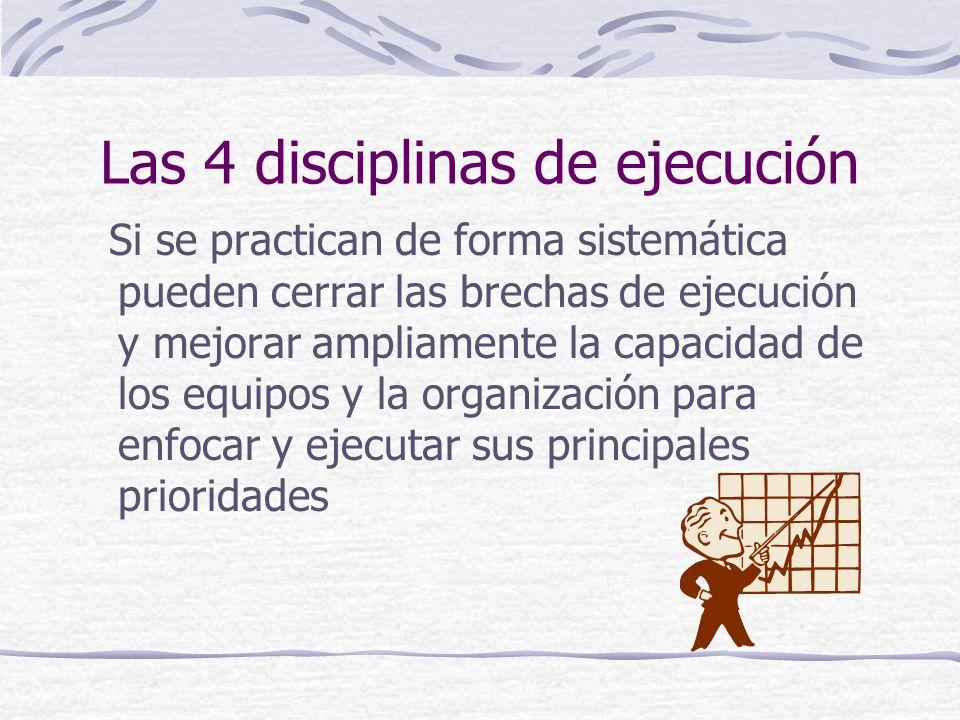 Las 4 disciplinas de ejecución Si se practican de forma sistemática pueden cerrar las brechas de ejecución y mejorar ampliamente la capacidad de los equipos y la organización para enfocar y ejecutar sus principales prioridades